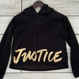 Justice crushed velvet hoodie / sweatshirt